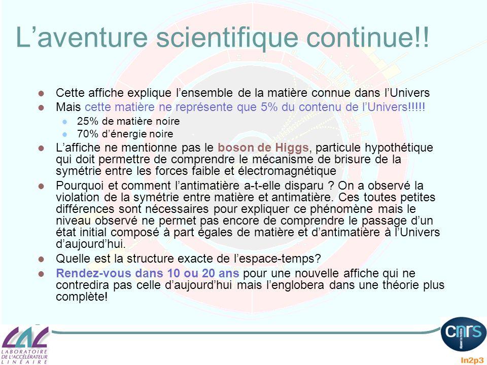Laventure scientifique continue!! Cette affiche explique lensemble de la matière connue dans lUnivers Mais cette matière ne représente que 5% du conte