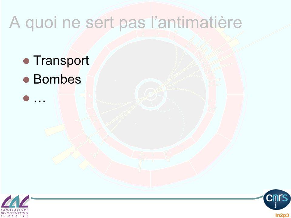 A quoi ne sert pas lantimatière Transport Bombes …
