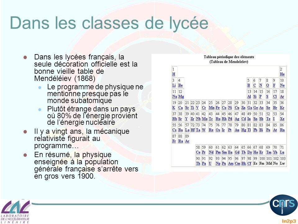 Dans les classes de lycée,… Dans les lycées français, la seule décoration officielle est la bonne vieille table de Mendéléiev (1868) Le programme de p