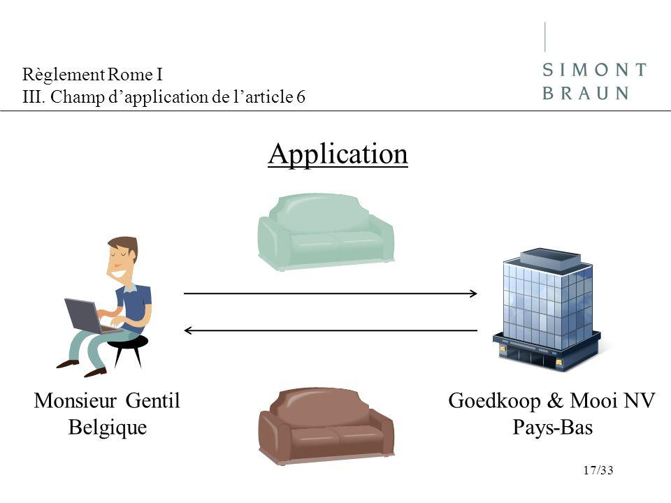 Règlement Rome I III. Champ dapplication de larticle 6 Application Monsieur Gentil Belgique Goedkoop & Mooi NV Pays-Bas 17/33
