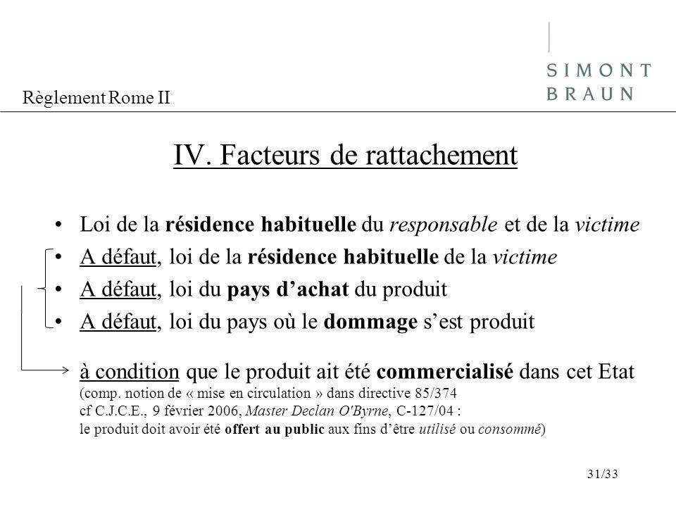 Règlement Rome II IV. Facteurs de rattachement Loi de la résidence habituelle du responsable et de la victime A défaut, loi de la résidence habituelle