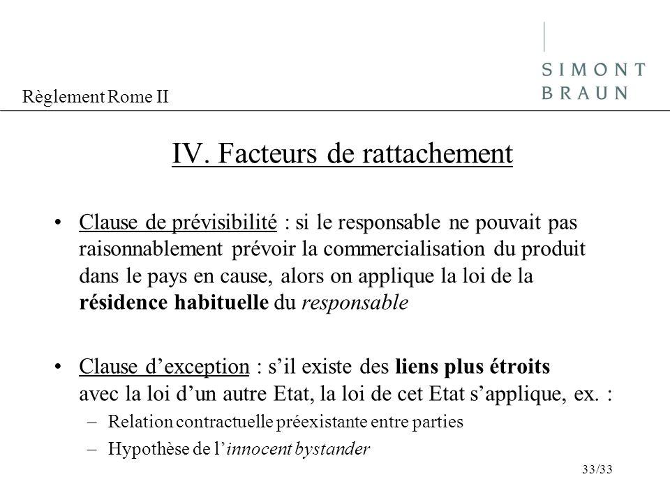 Règlement Rome II IV. Facteurs de rattachement Clause de prévisibilité : si le responsable ne pouvait pas raisonnablement prévoir la commercialisation