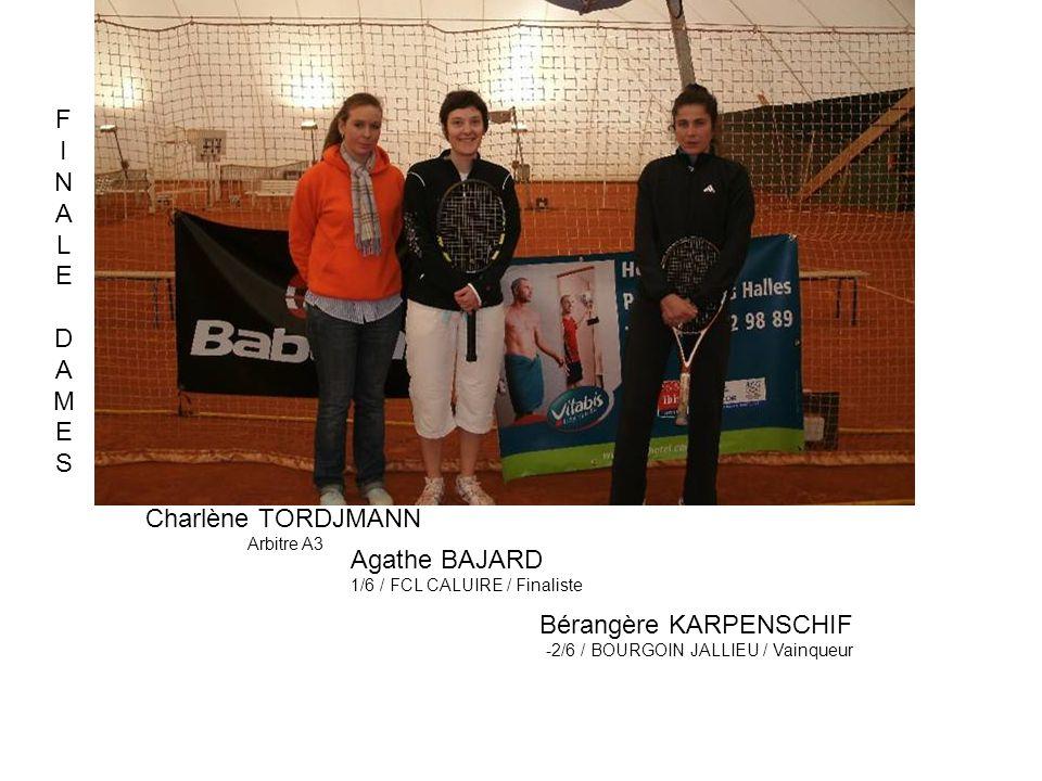 Charlène TORDJMANN Arbitre A3 Agathe BAJARD 1/6 / FCL CALUIRE / Finaliste Bérangère KARPENSCHIF -2/6 / BOURGOIN JALLIEU / Vainqueur FINALEDAMESFINALED