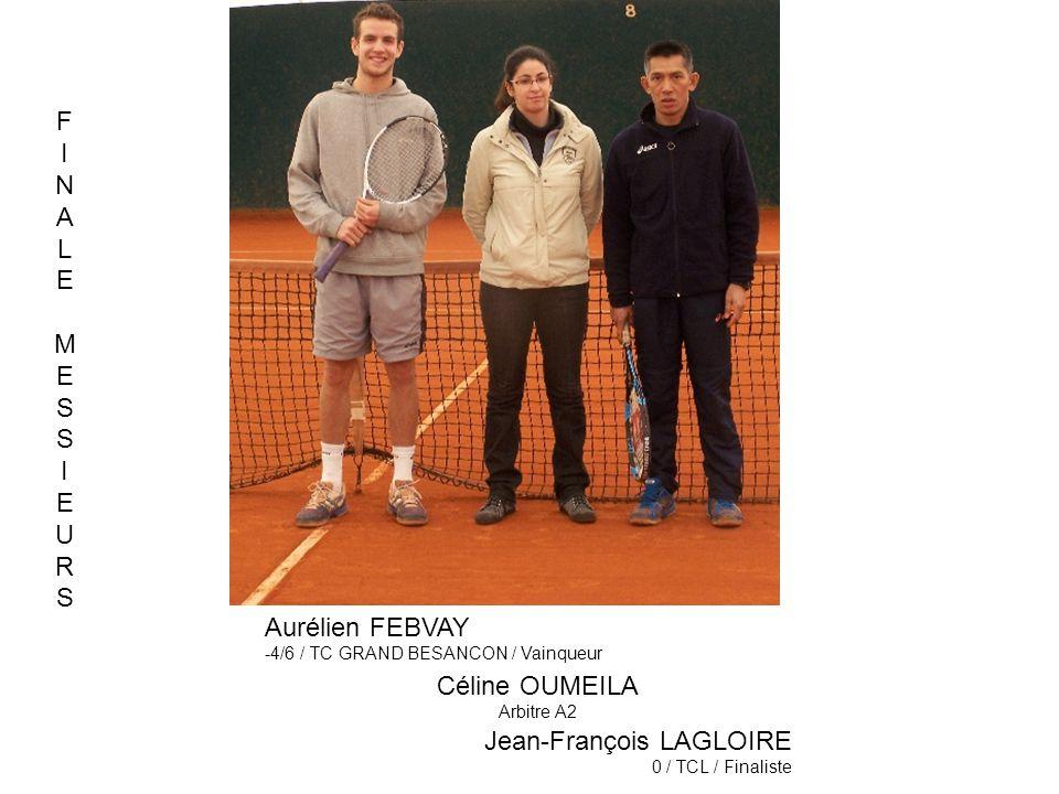 Céline OUMEILA Arbitre A2 Jean-François LAGLOIRE 0 / TCL / Finaliste Aurélien FEBVAY -4/6 / TC GRAND BESANCON / Vainqueur FINALEMESSIEURSFINALEMESSIEU