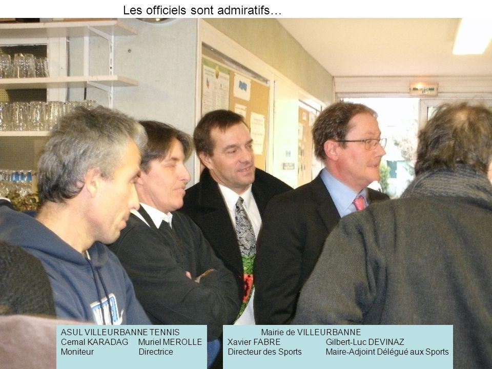 Les officiels sont admiratifs… ASUL VILLEURBANNE TENNIS Cemal KARADAGMuriel MEROLLE MoniteurDirectrice Mairie de VILLEURBANNE Xavier FABREGilbert-Luc