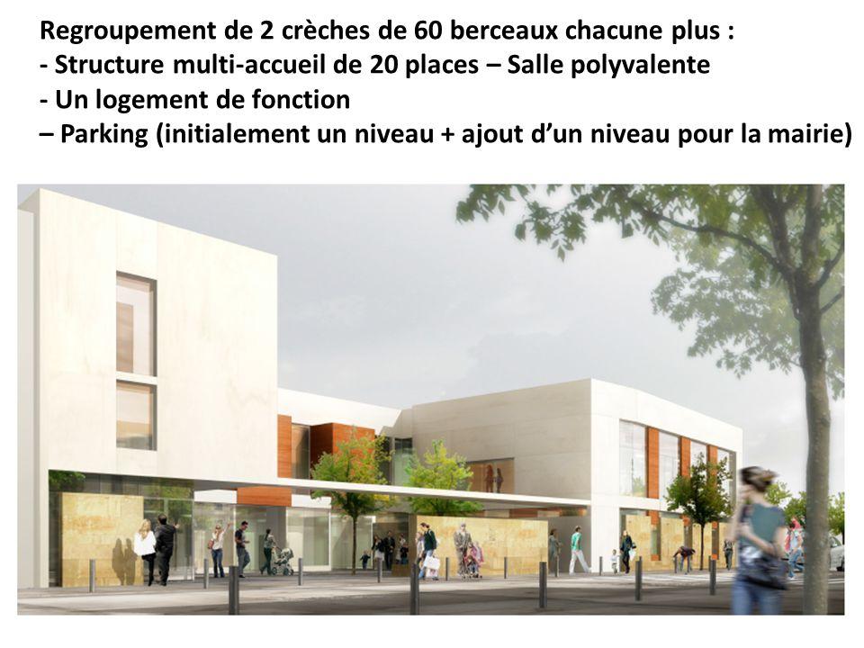 Regroupement de 2 crèches de 60 berceaux chacune plus : - Structure multi-accueil de 20 places – Salle polyvalente - Un logement de fonction – Parking (initialement un niveau + ajout dun niveau pour la mairie)
