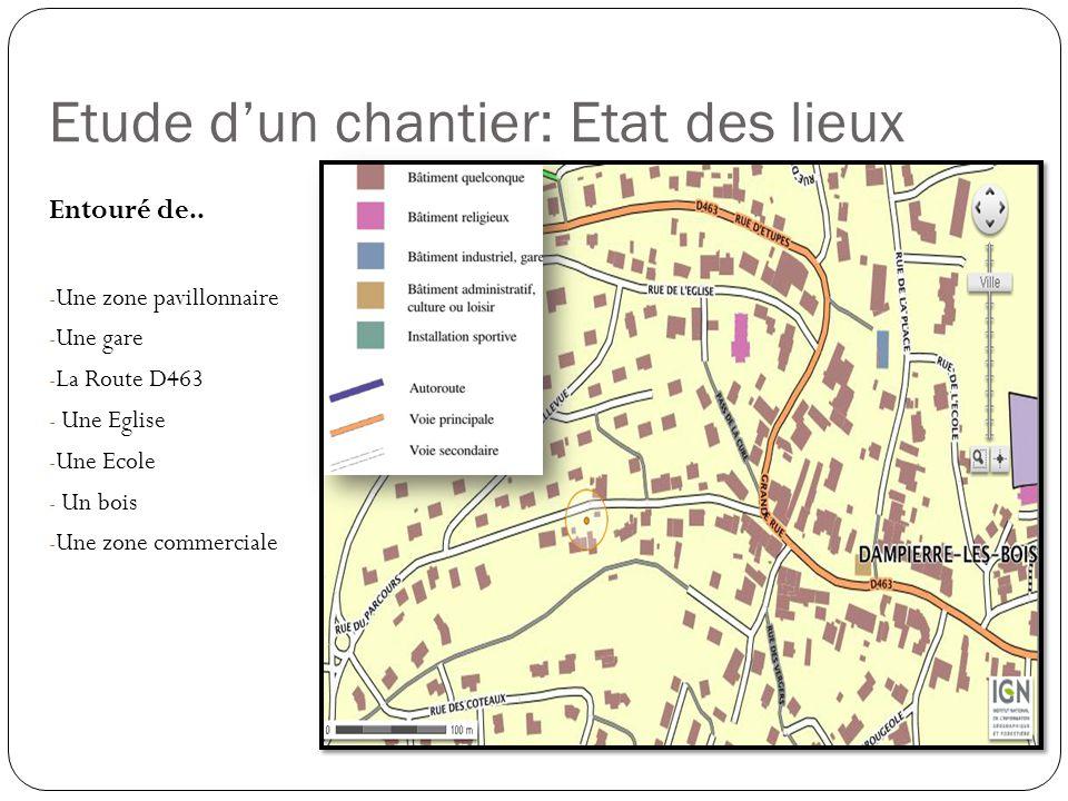 Etude dun chantier: Etat des lieux Entouré de.. - Une zone pavillonnaire - Une gare - La Route D463 - Une Eglise - Une Ecole - Un bois - Une zone comm
