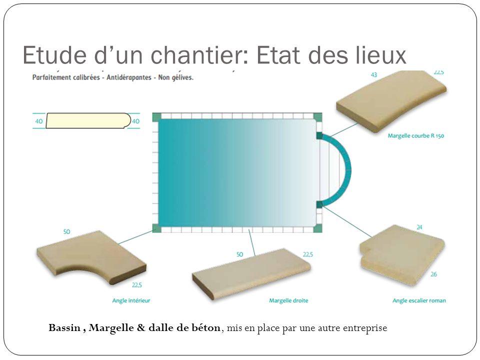 Bassin, Margelle & dalle de béton, mis en place par une autre entreprise Etude dun chantier: Etat des lieux