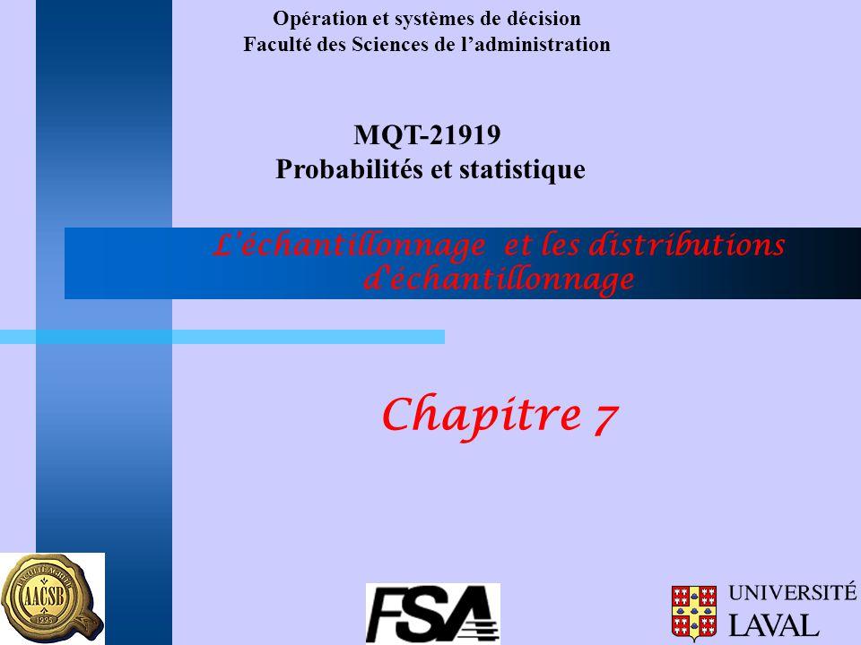 Opération et systèmes de décision Faculté des Sciences de ladministration MQT-21919 Probabilités et statistique Léchantillonnage et les distributions