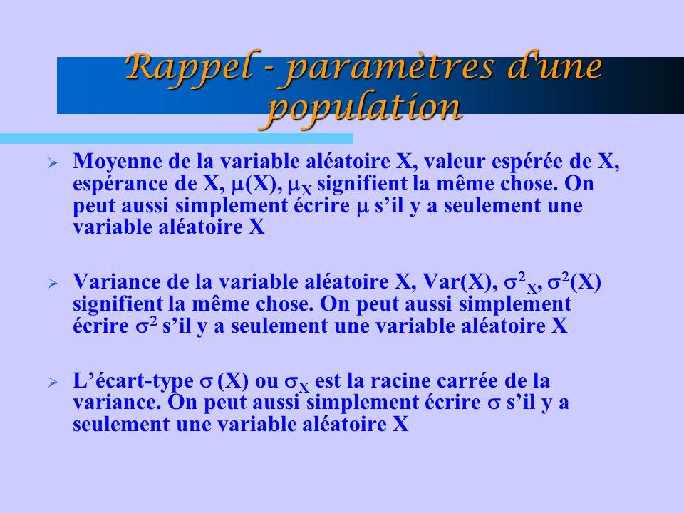 Rappel - paramètres d'une population Moyenne de la variable aléatoire X, valeur espérée de X, espérance de X, (X), X signifient la même chose. On peut