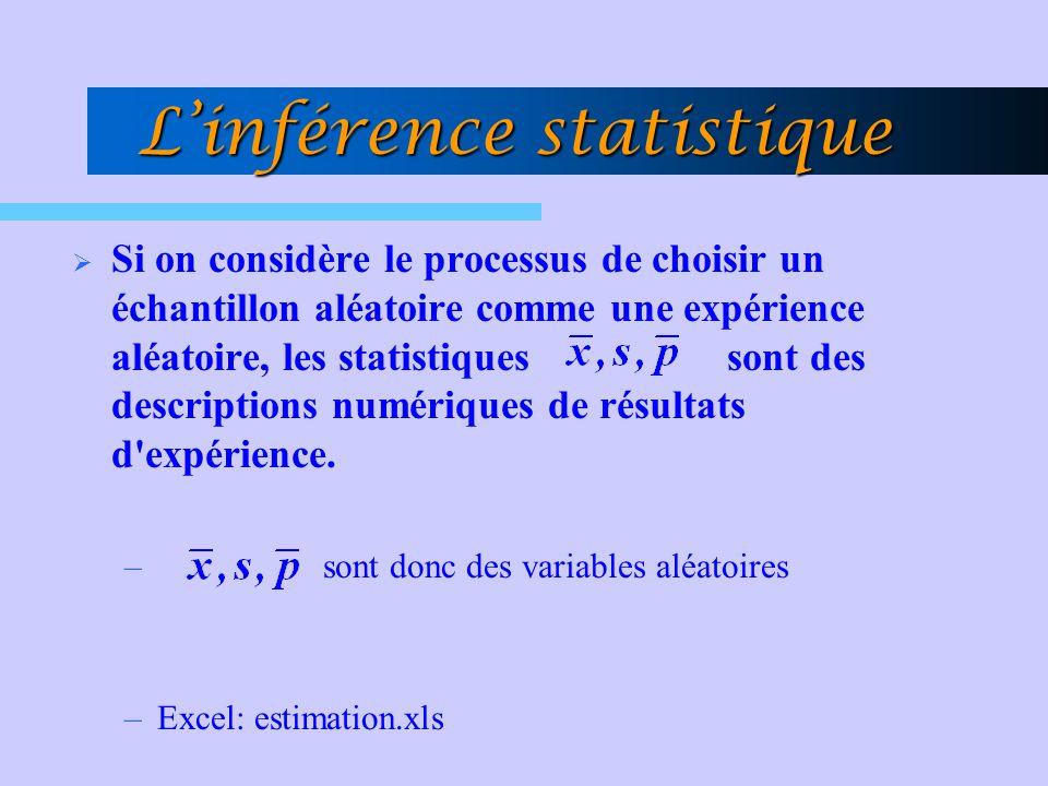 Linférence statistique Si on considère le processus de choisir un échantillon aléatoire comme une expérience aléatoire, les statistiques sont des desc