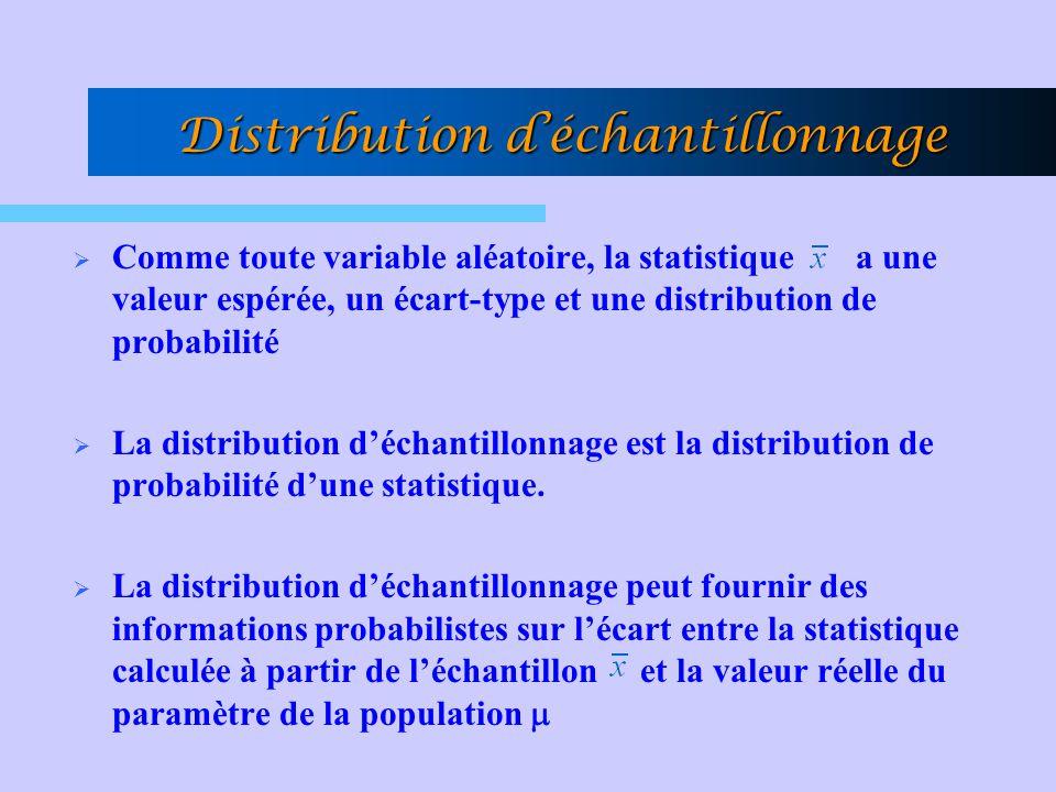 Distribution déchantillonnage Comme toute variable aléatoire, la statistique a une valeur espérée, un écart-type et une distribution de probabilité La