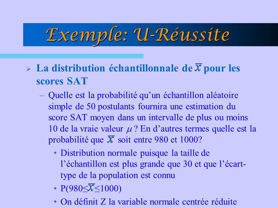 La distribution échantillonnale de pour les scores SAT –Quelle est la probabilité quun échantillon aléatoire simple de 50 postulants fournira une esti
