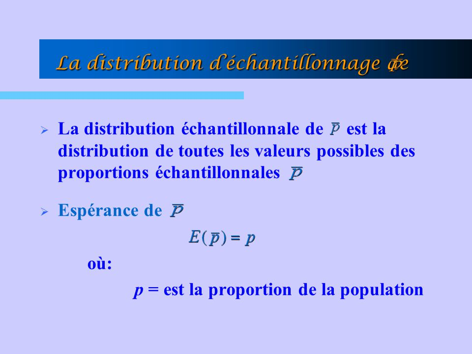 La distribution échantillonnale de est la distribution de toutes les valeurs possibles des proportions échantillonnales Espérance de où: p = est la pr