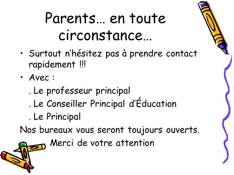 Parents… en toute circonstance… Surtout nhésitez pas à prendre contact rapidement !!.