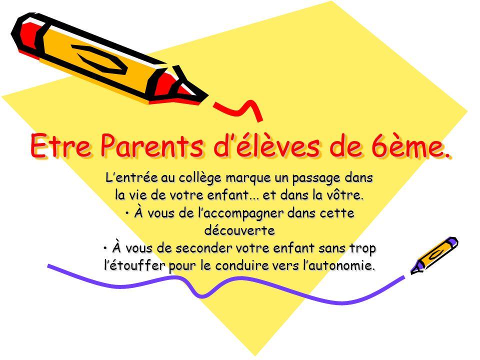 Etre Parents délèves de 6ème.Lentrée au collège marque un passage dans la vie de votre enfant...