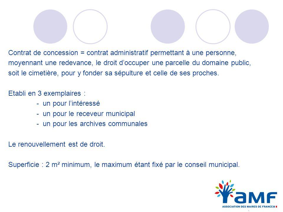 Contrat de concession = contrat administratif permettant à une personne, moyennant une redevance, le droit doccuper une parcelle du domaine public, so