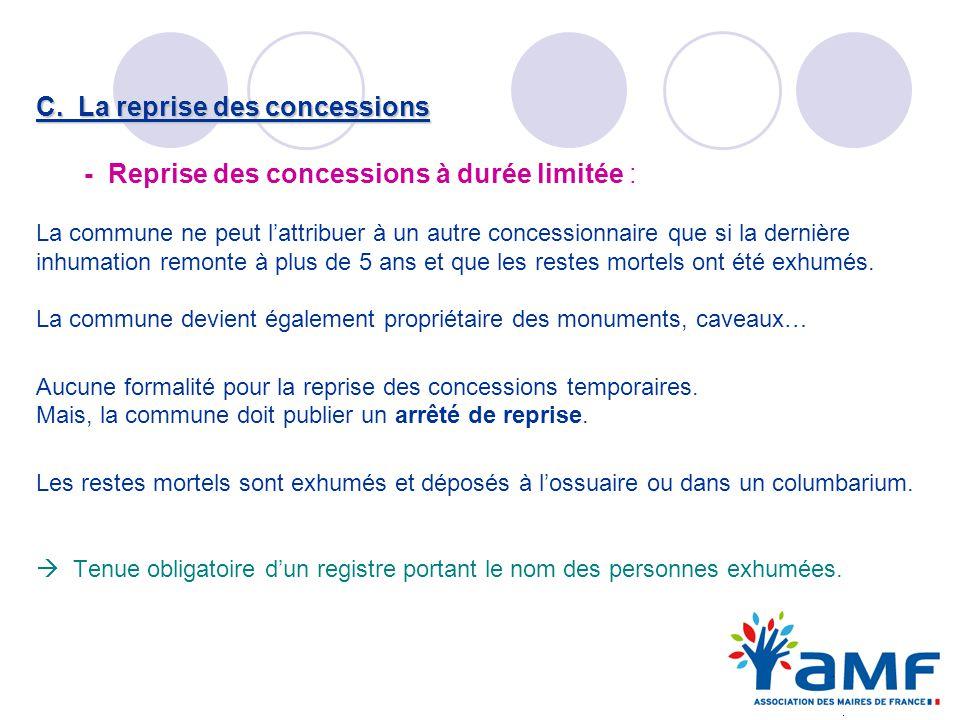 C. La reprise des concessions - Reprise des concessions à durée limitée : La commune ne peut lattribuer à un autre concessionnaire que si la dernière