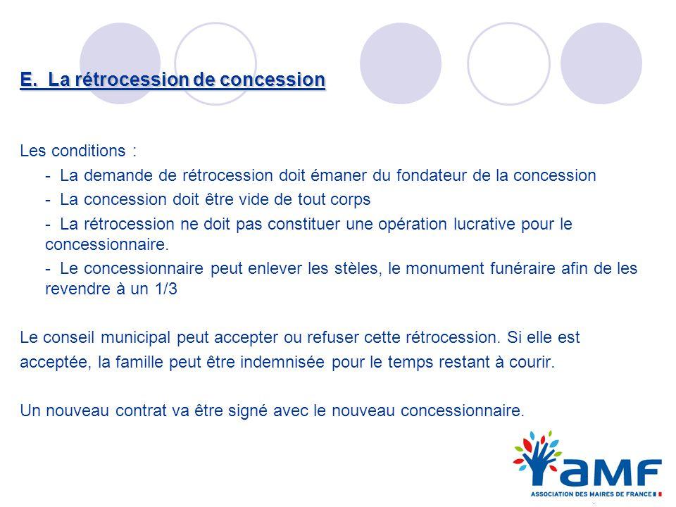 E. La rétrocession de concession Les conditions : - La demande de rétrocession doit émaner du fondateur de la concession - La concession doit être vid