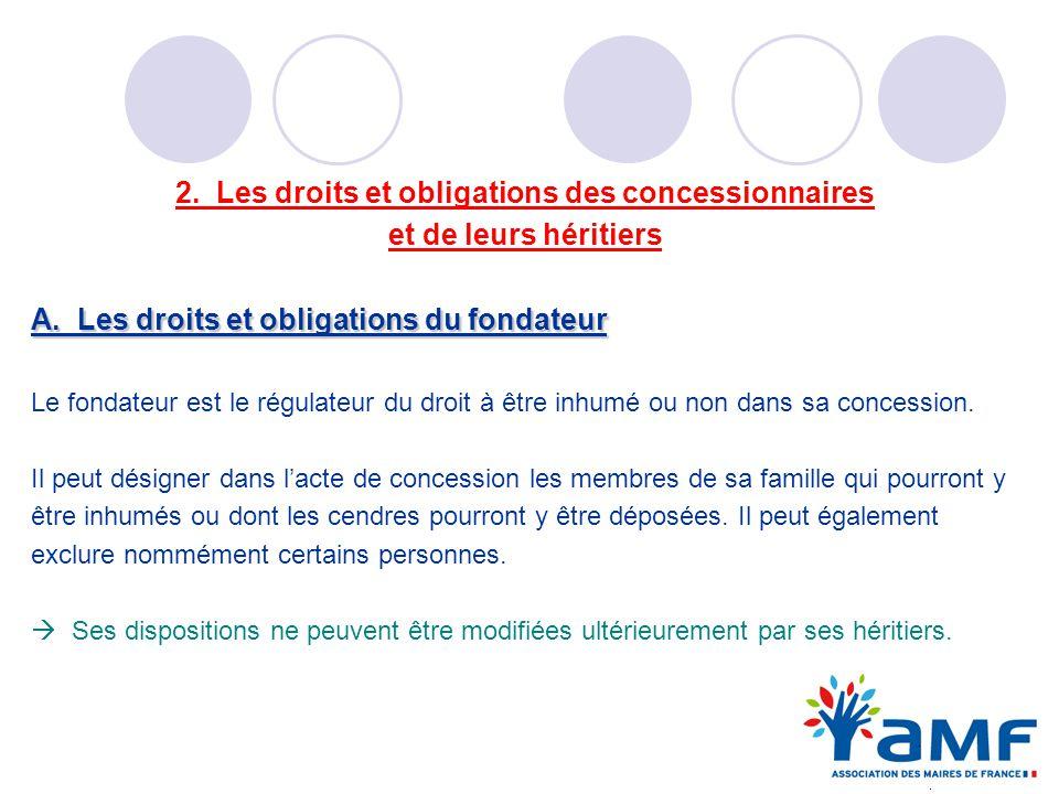 2. Les droits et obligations des concessionnaires et de leurs héritiers A. Les droits et obligations du fondateur Le fondateur est le régulateur du dr