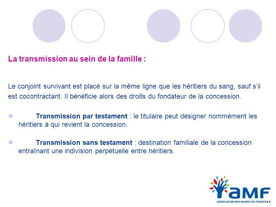 La transmission au sein de la famille : Le conjoint survivant est placé sur la même ligne que les héritiers du sang, sauf sil est cocontractant. Il bé