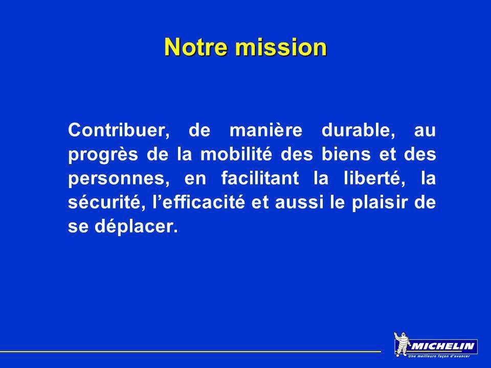 Notre mission Contribuer, de manière durable, au progrès de la mobilité des biens et des personnes, en facilitant la liberté, la sécurité, lefficacité