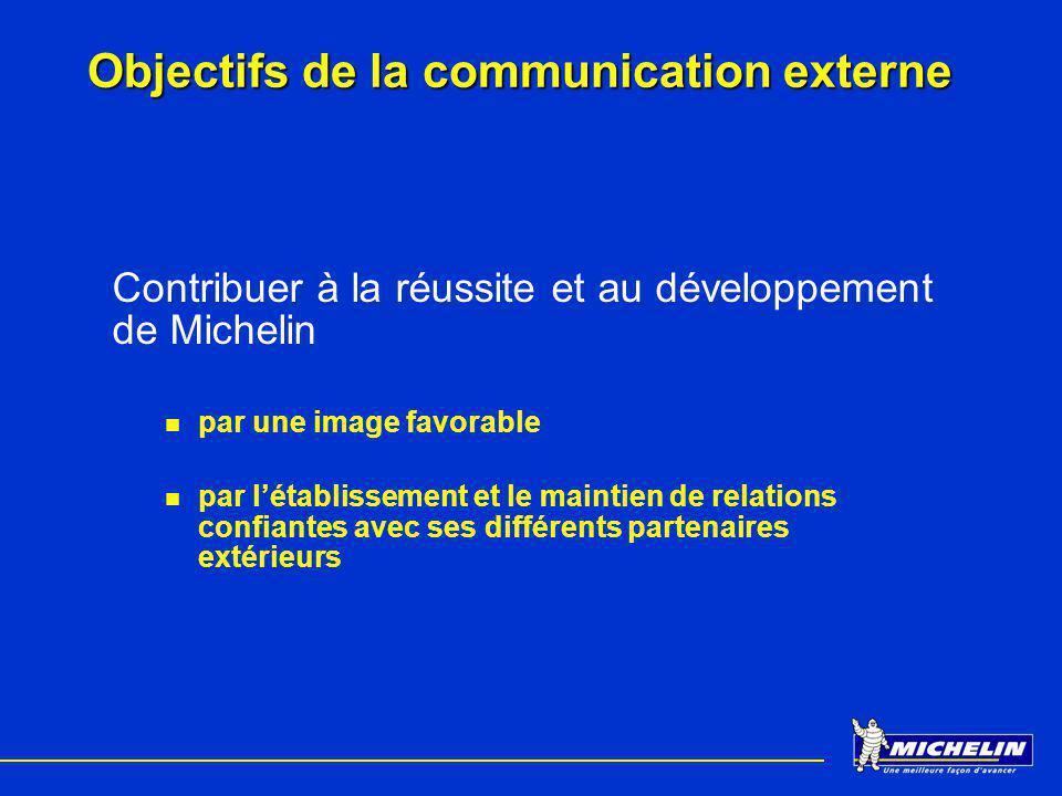 Objectifs de la communication externe Contribuer à la réussite et au développement de Michelin par une image favorable par létablissement et le mainti