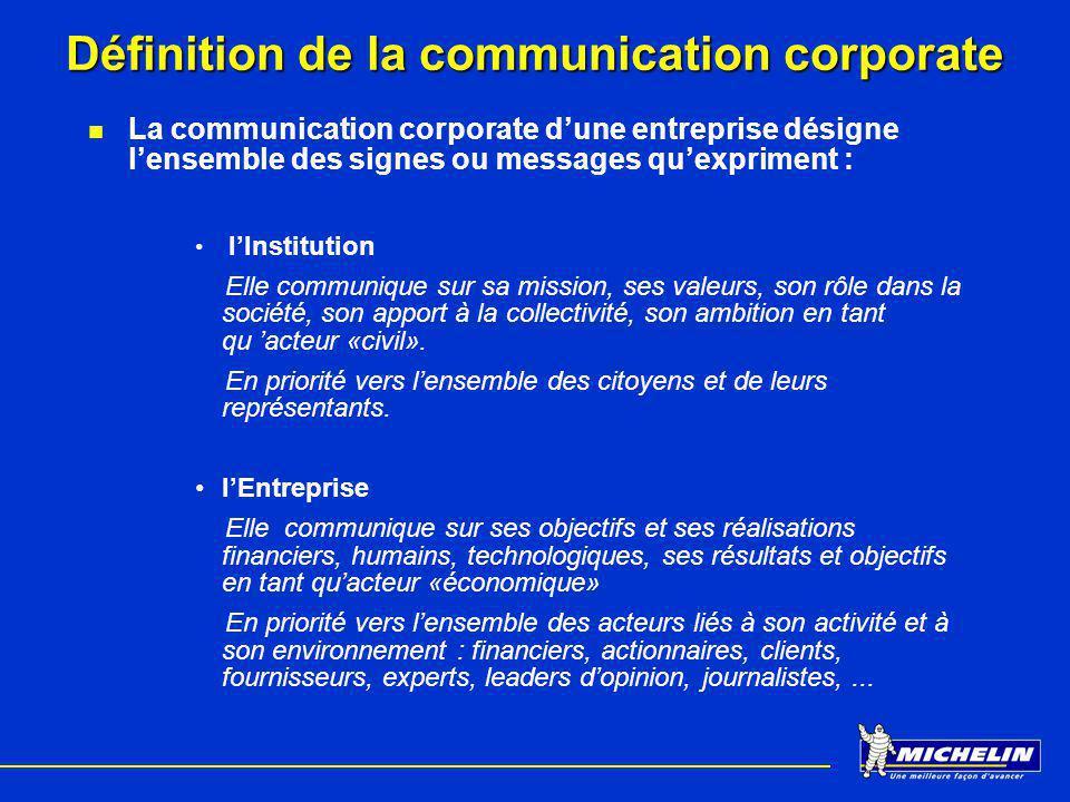 Définition de la communication corporate La communication corporate dune entreprise désigne lensemble des signes ou messages quexpriment : lInstitutio