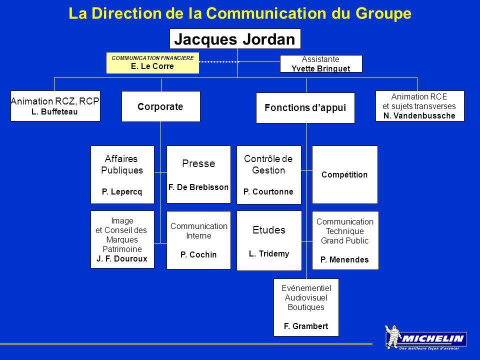 La Direction de la Communication du Groupe COMMUNICATION FINANCIERE E. Le Corre Jacques Jordan Assistante Yvette Bringuet Affaires Publiques P. Leperc