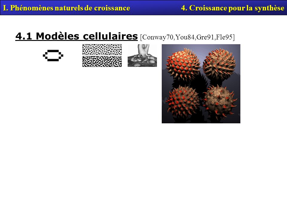 4.1 Modèles cellulaires [Conway70,You84,Gre91,Fle95] I.