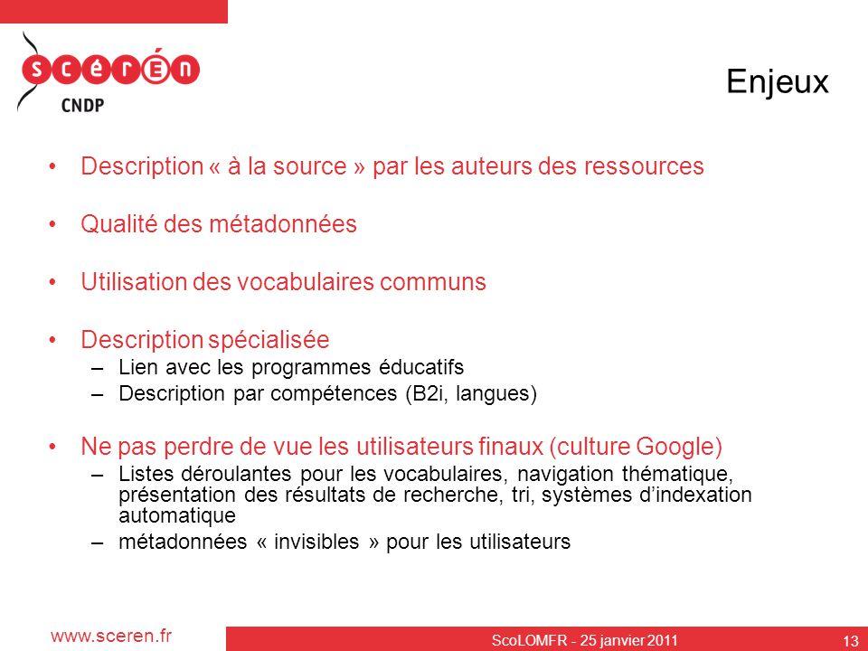 www.sceren.fr ScoLOMFR - 25 janvier 2011 13 Enjeux Description « à la source » par les auteurs des ressources Qualité des métadonnées Utilisation des