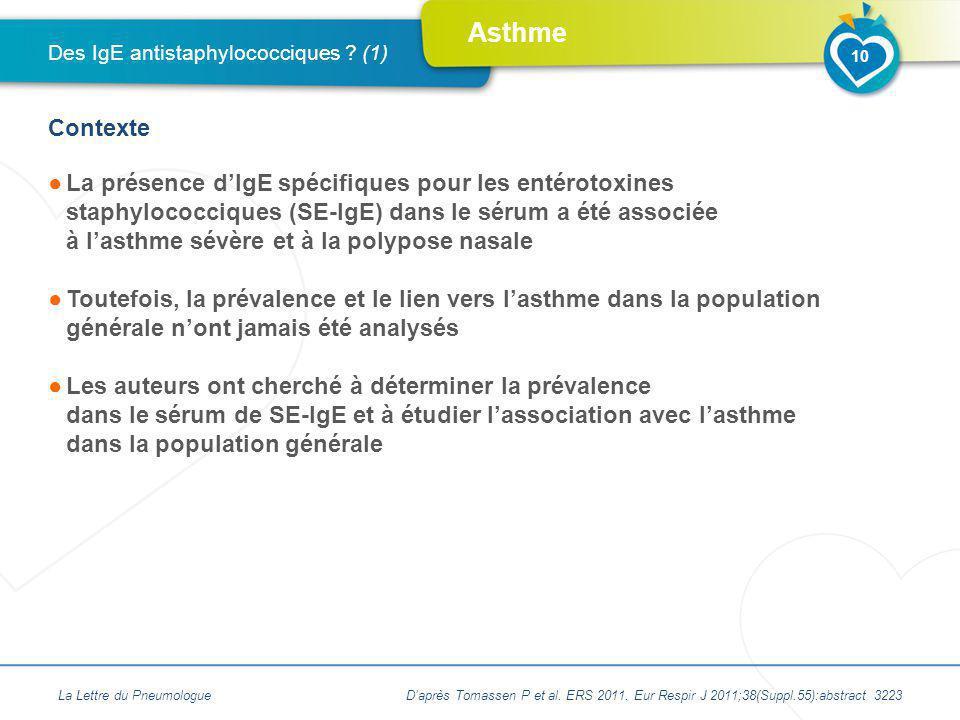 Asthme La présence dIgE spécifiques pour les entérotoxines staphylococciques (SE-IgE) dans le sérum a été associée à lasthme sévère et à la polypose n