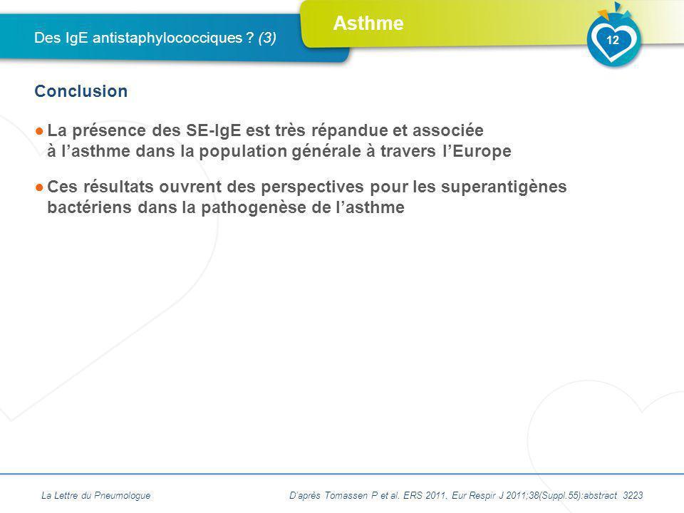 Asthme La présence des SE-IgE est très répandue et associée à lasthme dans la population générale à travers lEurope Ces résultats ouvrent des perspect