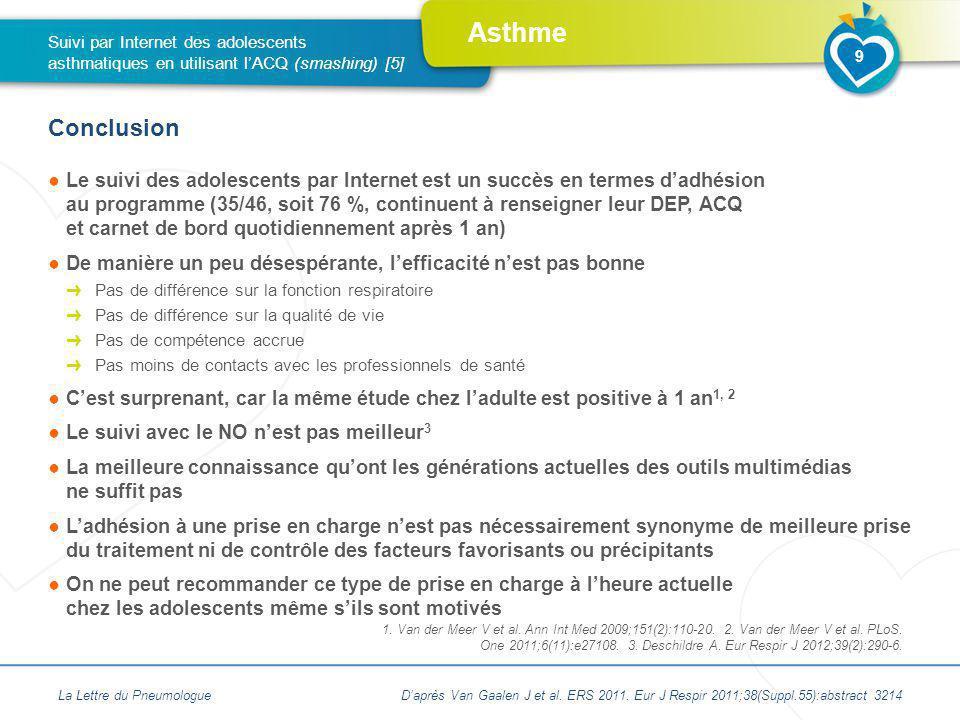 Asthme Le suivi des adolescents par Internet est un succès en termes dadhésion au programme (35/46, soit 76 %, continuent à renseigner leur DEP, ACQ e