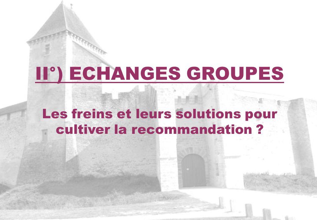 II°) ECHANGES GROUPES Les freins et leurs solutions pour cultiver la recommandation ?