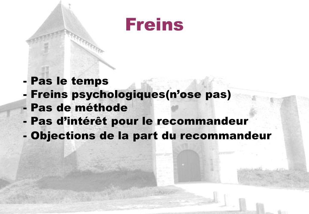 Freins - Pas le temps - Freins psychologiques(nose pas) - Pas de méthode - Pas dintérêt pour le recommandeur - Objections de la part du recommandeur