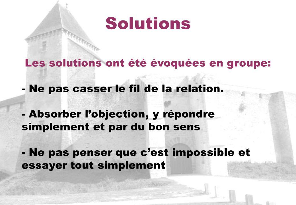 Solutions Les solutions ont été évoquées en groupe: - Ne pas casser le fil de la relation. - Absorber lobjection, y répondre simplement et par du bon