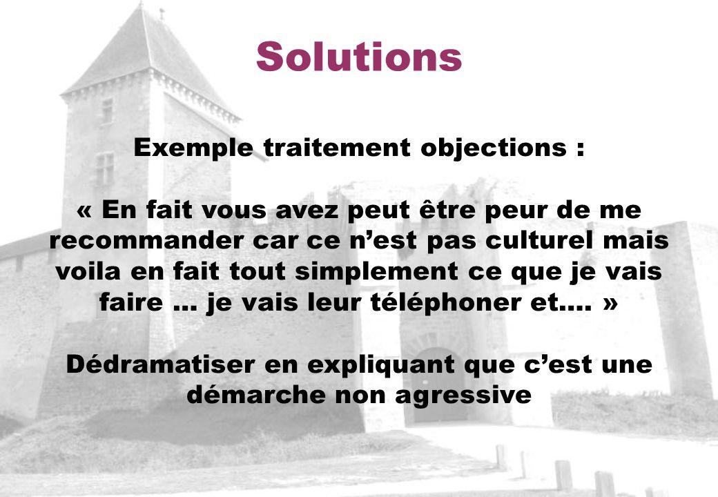 Solutions Exemple traitement objections : « En fait vous avez peut être peur de me recommander car ce nest pas culturel mais voila en fait tout simplement ce que je vais faire … je vais leur téléphoner et….
