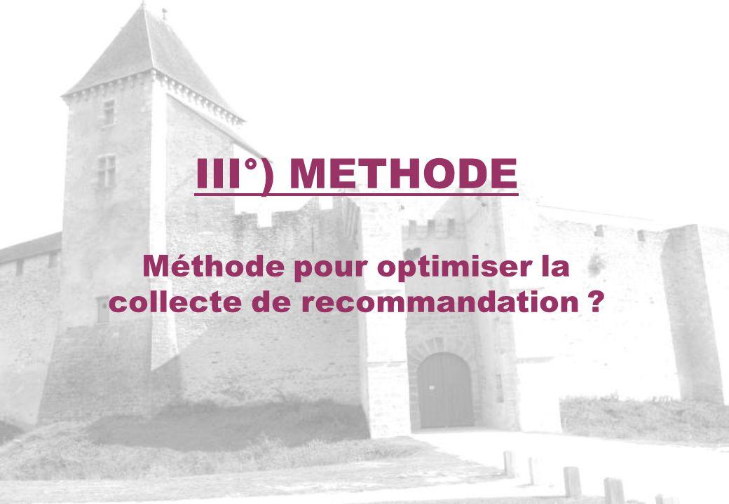 III°) METHODE Méthode pour optimiser la collecte de recommandation ?