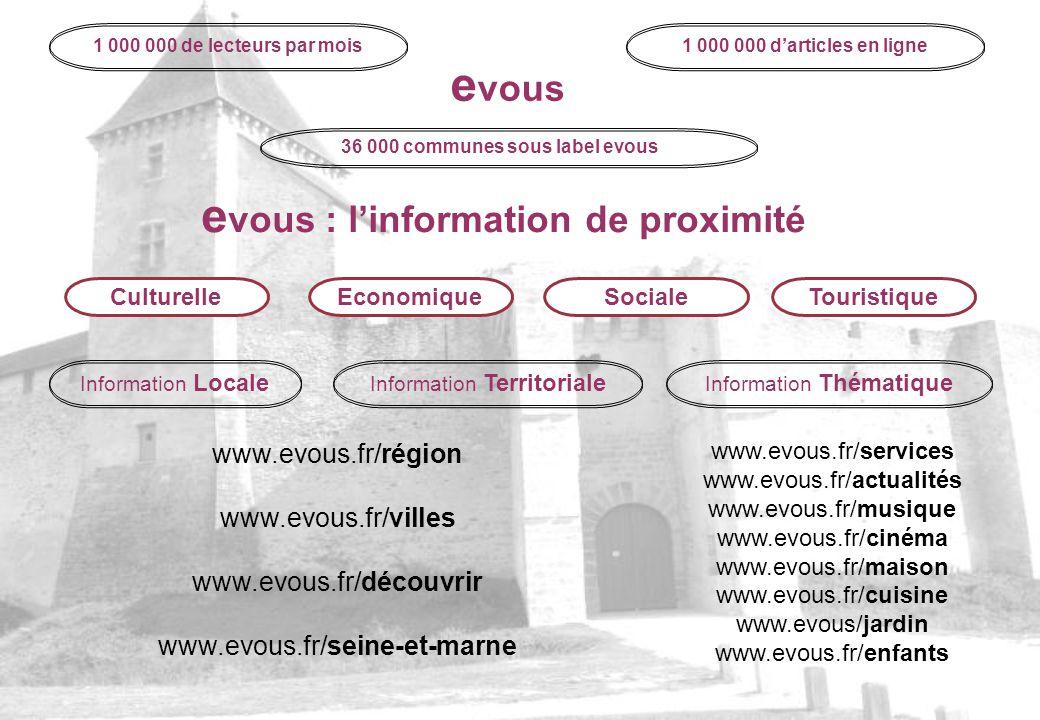 1 000 000 de lecteurs par mois1 000 000 darticles en ligne 36 000 communes sous label evous e vous e vous : linformation de proximité CulturelleEconom