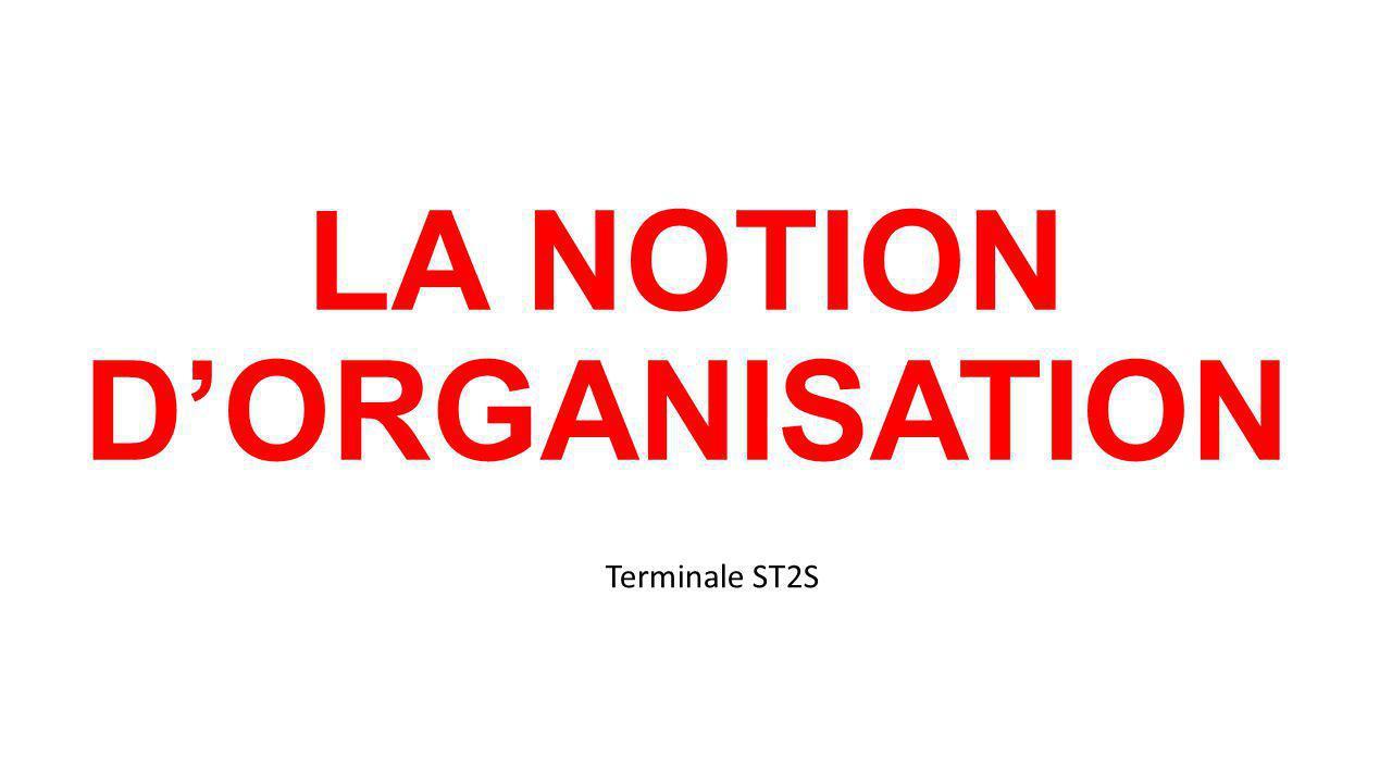 Objectifs : Présenter le concept dorganisation.