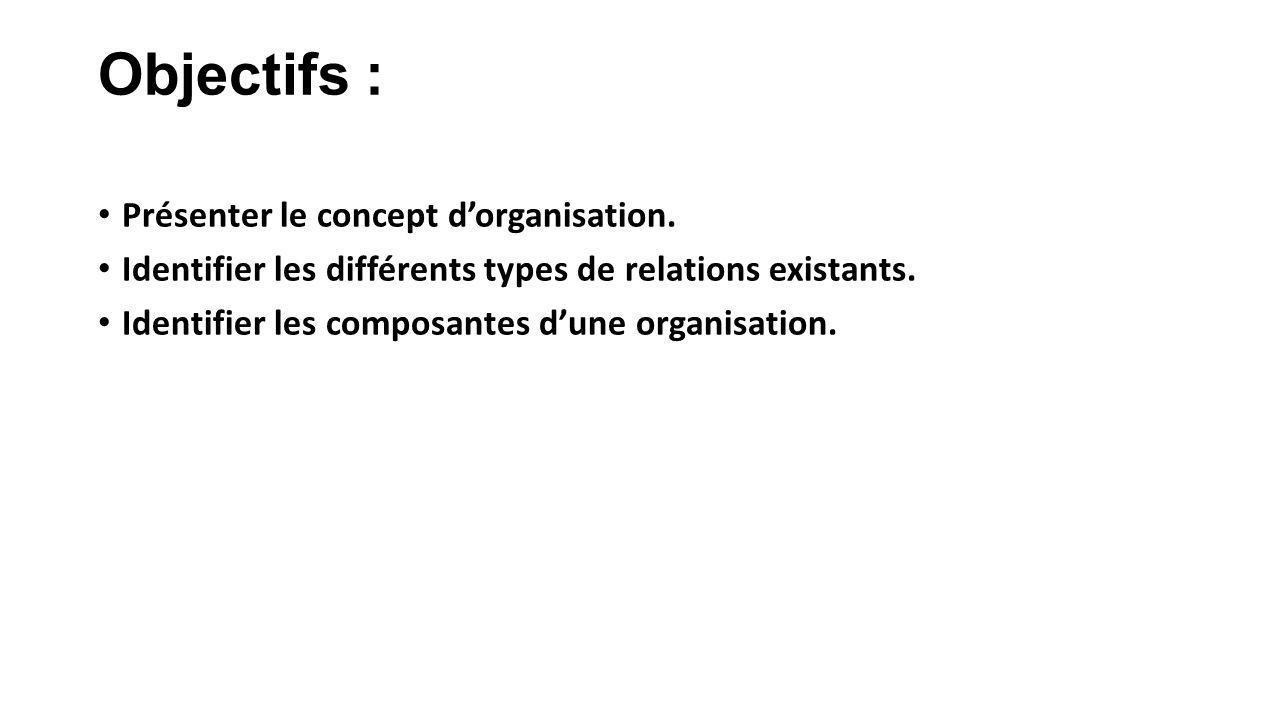 Objectifs : Présenter le concept dorganisation. Identifier les différents types de relations existants. Identifier les composantes dune organisation.
