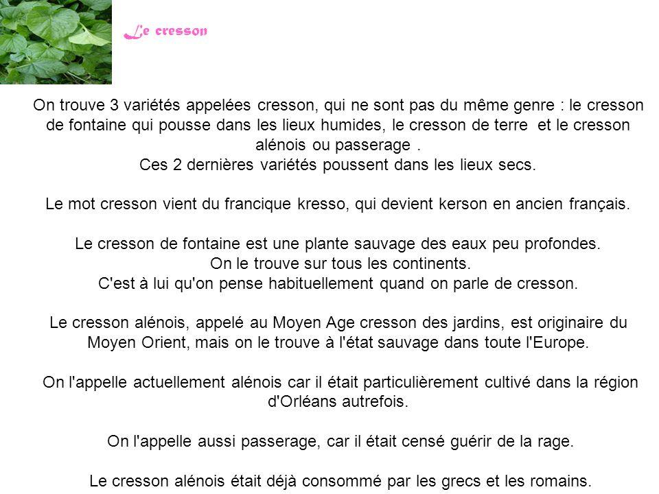 On trouve 3 variétés appelées cresson, qui ne sont pas du même genre : le cresson de fontaine qui pousse dans les lieux humides, le cresson de terre e