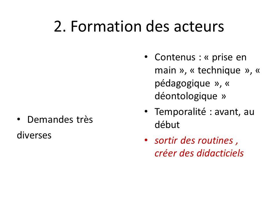 2. Formation des acteurs Demandes très diverses Contenus : « prise en main », « technique », « pédagogique », « déontologique » Temporalité : avant, a