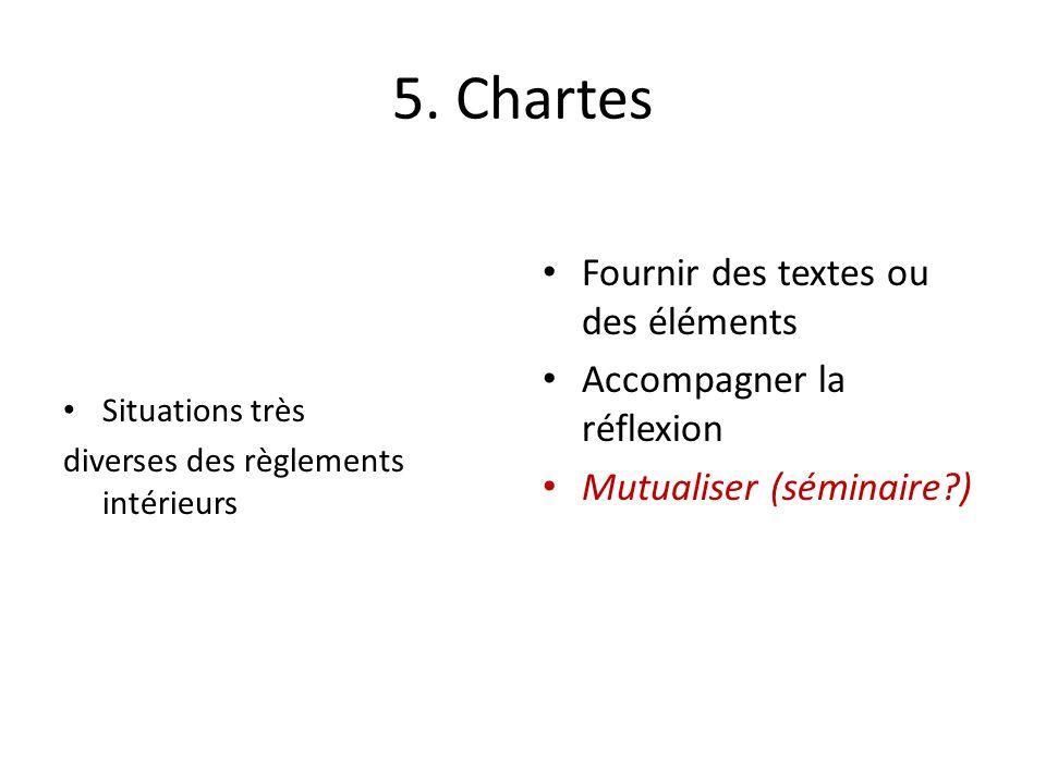 5. Chartes Situations très diverses des règlements intérieurs Fournir des textes ou des éléments Accompagner la réflexion Mutualiser (séminaire?)