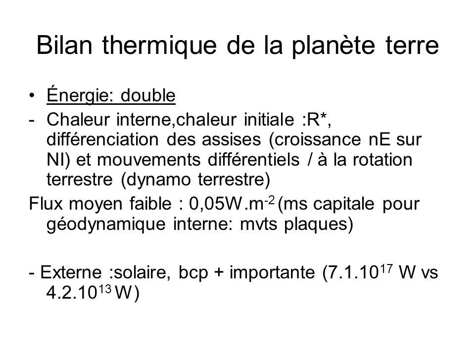Bilan thermique de la planète terre Énergie: double -Chaleur interne,chaleur initiale :R*, différenciation des assises (croissance nE sur NI) et mouve