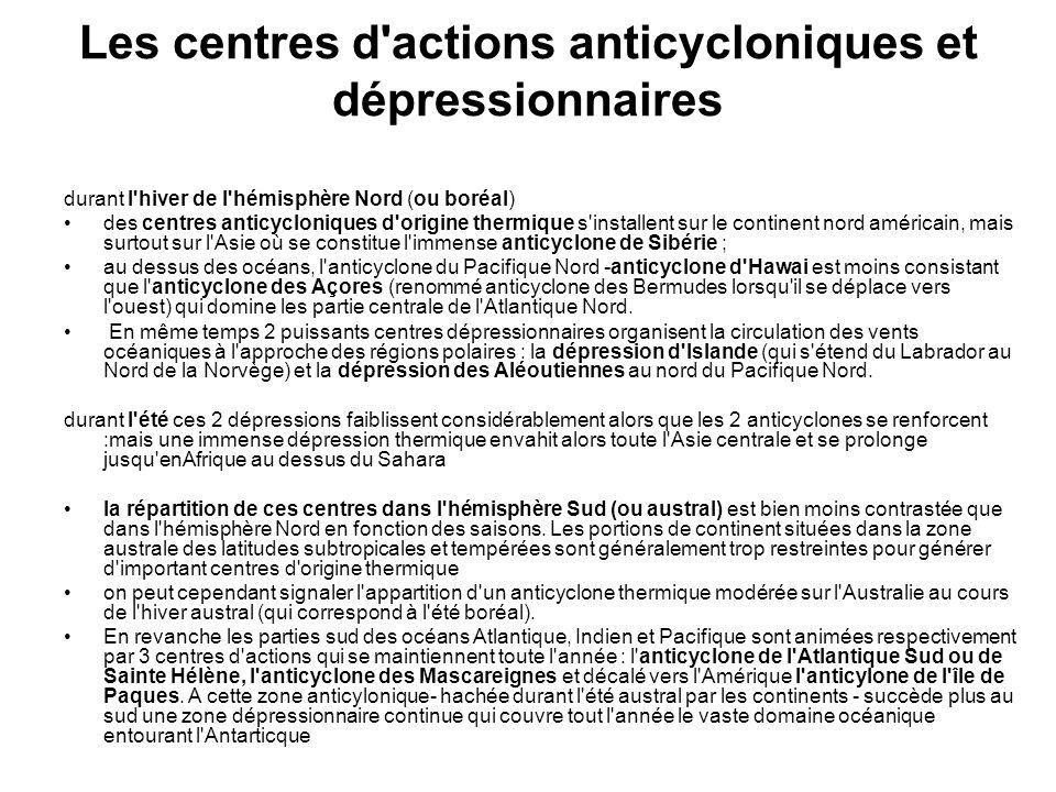 Les centres d'actions anticycloniques et dépressionnaires durant l'hiver de l'hémisphère Nord (ou boréal) des centres anticycloniques d'origine thermi