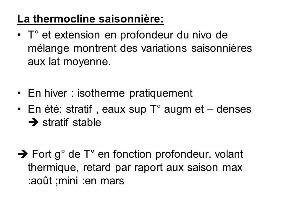 La thermocline saisonnière: T° et extension en profondeur du nivo de mélange montrent des variations saisonnières aux lat moyenne. En hiver : isotherm