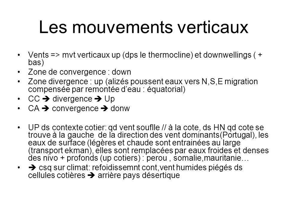 Les mouvements verticaux Vents => mvt verticaux up (dps le thermocline) et downwellings ( + bas) Zone de convergence : down Zone divergence : up (aliz