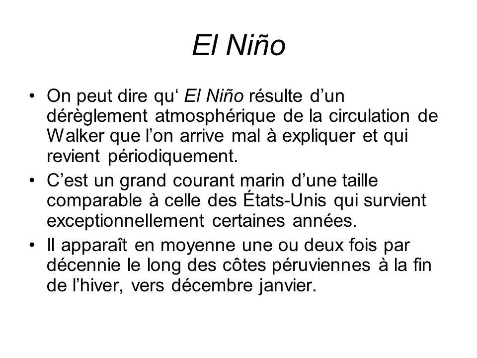 El Niño On peut dire qu El Niño résulte dun dérèglement atmosphérique de la circulation de Walker que lon arrive mal à expliquer et qui revient périod